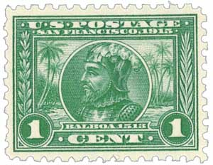 U.S. #401 was issued for the Panama-Pacific Exposition, which honored Balboa's discover as well as the construction of the Panama Canal.