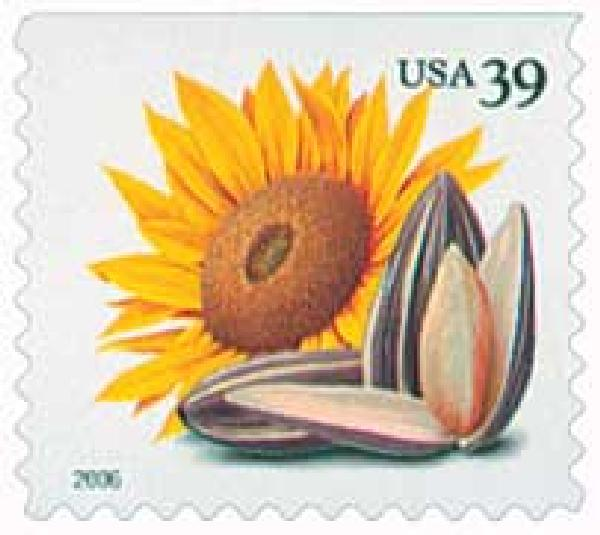 2006 39c Crops of America: Sunflower and Seeds, convertible booklet single