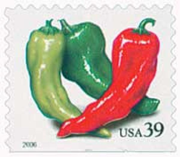 2006 39c Crops of America: Chili Peppers, convertible booklet single