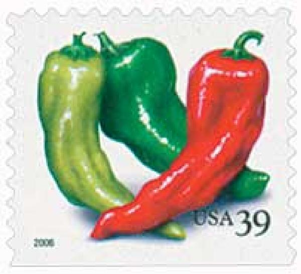 2006 39c Crops of America: Chili Peppers, vending booklet single