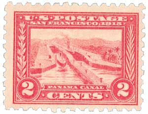1915 2c Panama-Pacific Exposition: Panama Canal, carmine, perf 10