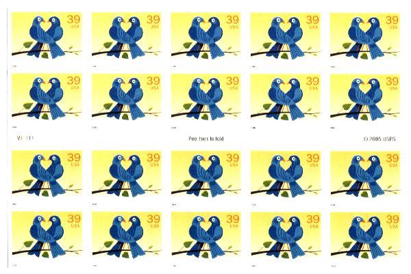 2006 39c Love Birds conv. bklt of 20