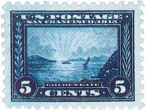 1915 5c Panama-Pacific Exposition: Golden Gate, blue, perf 10