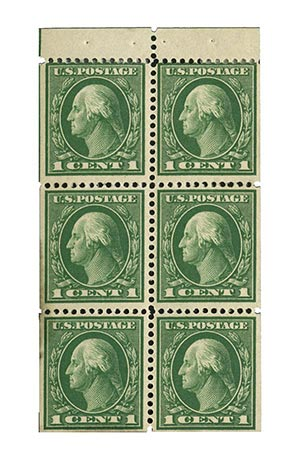 1912 1c green, booklet pane of 6