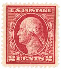 1912 2c Washington Single Line Watermark, Perf 12, carmine