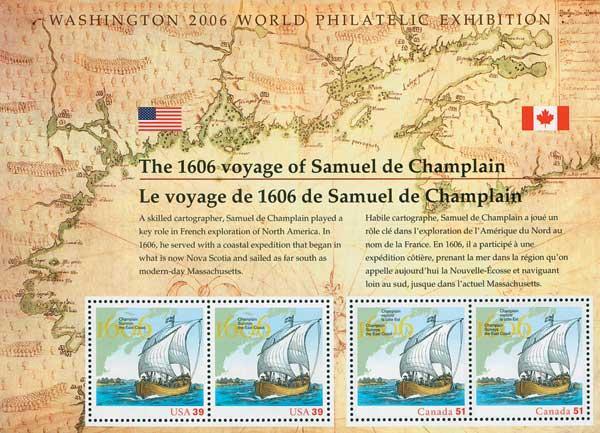 2006 39c Samuel de Champlain, souvenir sheet of 4