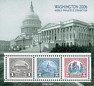 2006 $1, $2, $5 Washington 2006 World Philatelic Exhibition, souvenir sheet