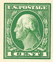 1912 1c Washington, green, single line watermark, imperforate