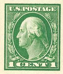 1912 1c Washington SL Wmrk imperf