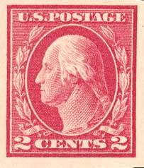 1912 2c Washington, carmine, single line watermark, imperforate