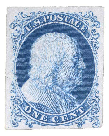 1857-60 1c bright blue