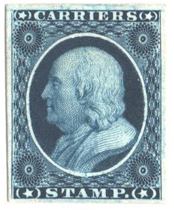 1851-60 1c bright blue