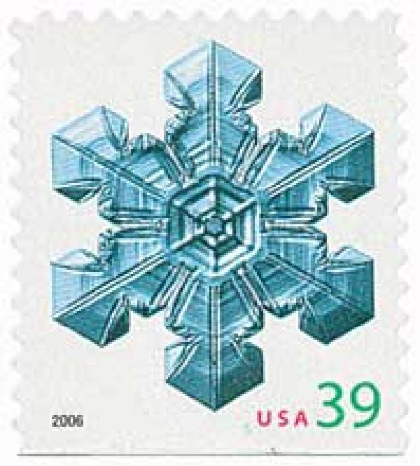 2006 39c Contemporary Christmas: Large Center Snowflake, conventional
