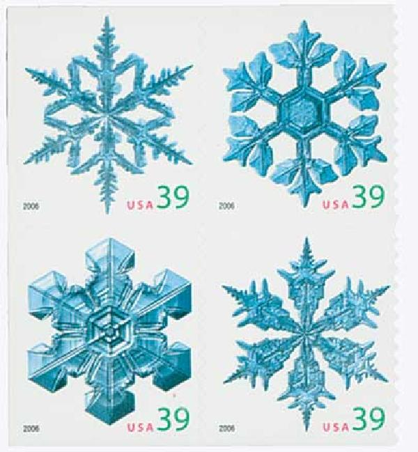 2006 39c Holiday Snowflakes, convertible booklet, block of 4 stamps