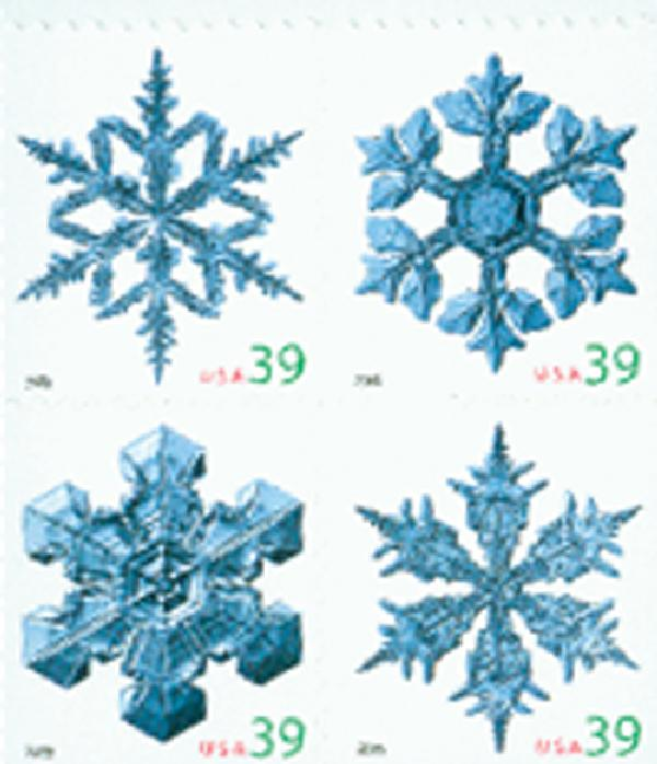 2006 39c Holiday Snowflakes, vending booklet, block of 4 stamps