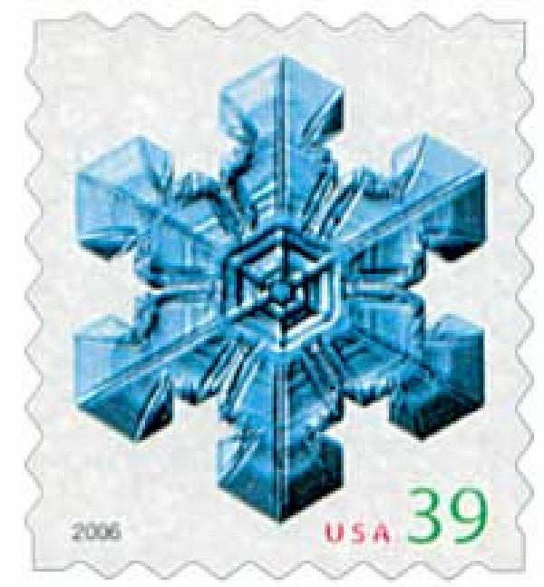 2006 39c Contemporary Christmas: Large Center Snowflake, ATM