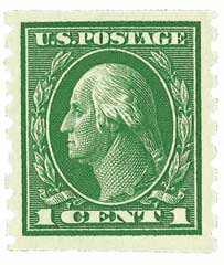 1912 1c Washington, perf 8.5 vertical