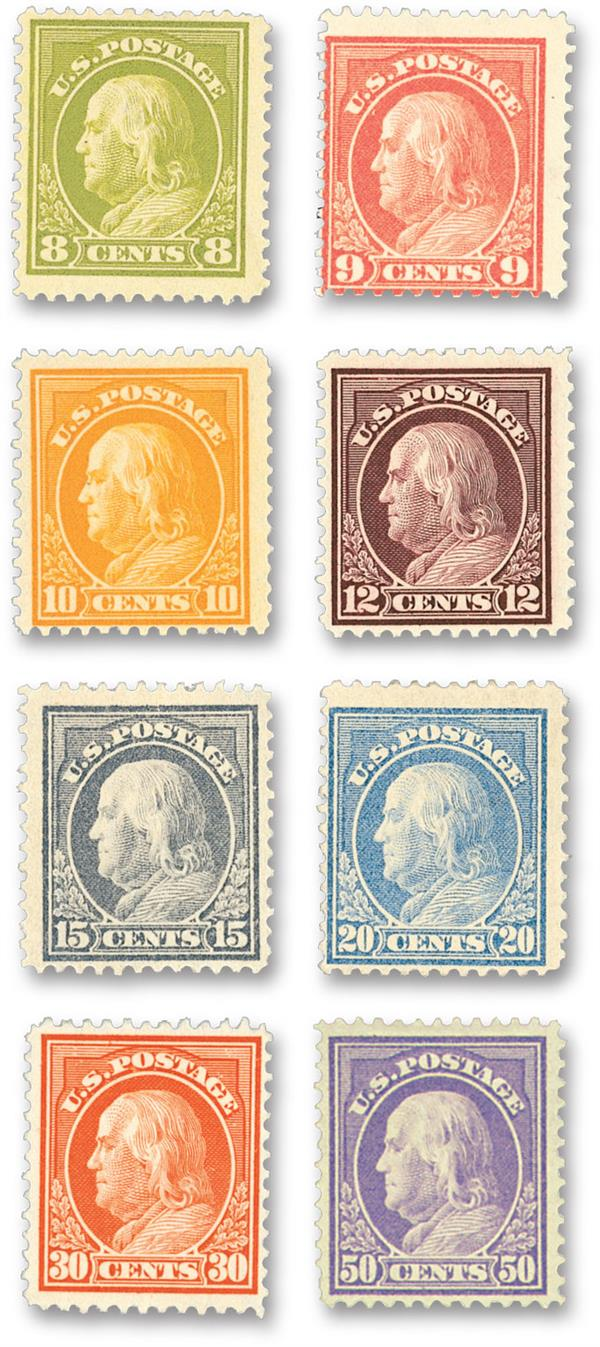 1912 Franklin, single line watermark, set of 8 stamps