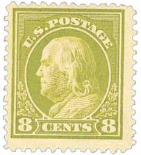 1912 8c Franklin, pale olive green, single line wmk.