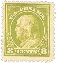 1912 8c Franklin, pale olive green, single line wmk.
