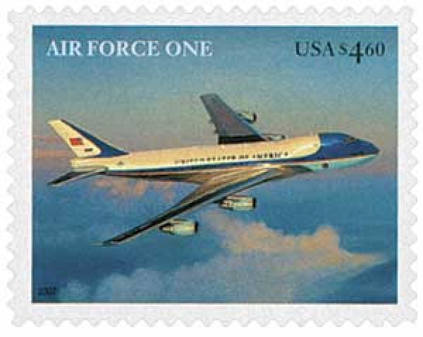 US #4144 – a 2007 Priority Mail stamp picturing Air Force One