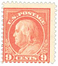 1914 9c Franklin, salmon red, single line wmrk.