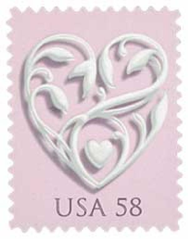 2007 58c Wedding Series: Wedding Hearts - pink background