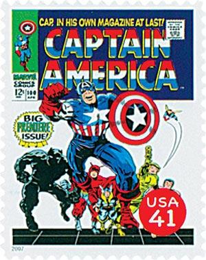2007 41c Marvel Comics Super Heroes: Captain America Comic Cover