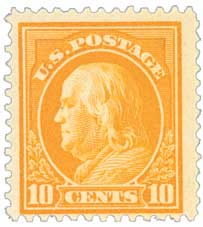 1912 10c Franklin, orange yellow, single line wmrk.