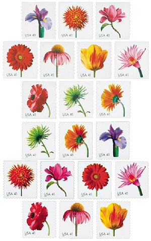 2007 41c Beautiful Blooms, set of 20 stamps