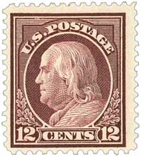 1914 12c Franklin, claret brown, single line wmrk.