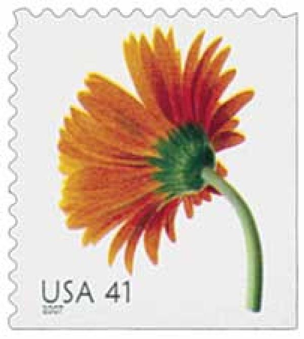 2007 41c Beautiful Blooms: Orange Gerbera Daisy, booklet single