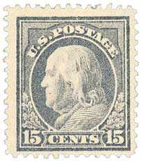 1912 15c Franklin, gray, single line watermark