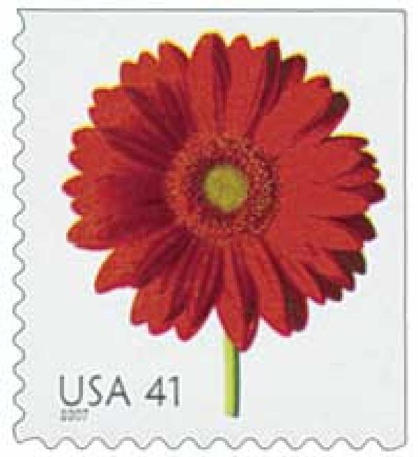 2007 41c Beautiful Blooms: Red Gerbera Daisy, booklet single