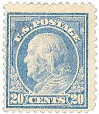 1914 20c Franklin, single line watermark