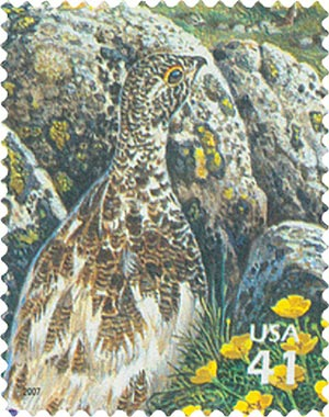 2007 42c Alpine Tundra:White-Tailed Ptarmigan