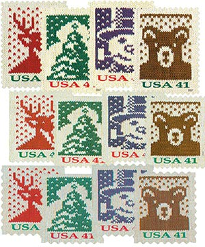 2007 41c Holiday Knits, set of 12 stamps