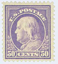 1914 50c Franklin, violet, single line watermark