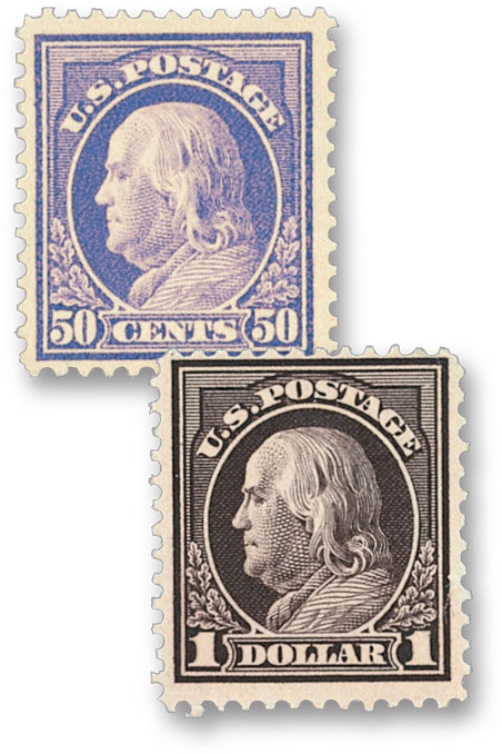 Complete Set, 1912 Franklin Issue Perforated 12 Double Line Watermark