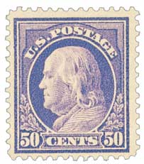 1912 50c Franklin, violet, double line watermark