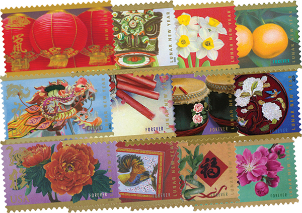 Complete Set - 2008-19 Chinese Lunar New Year Singles Collection of 12 Stamps