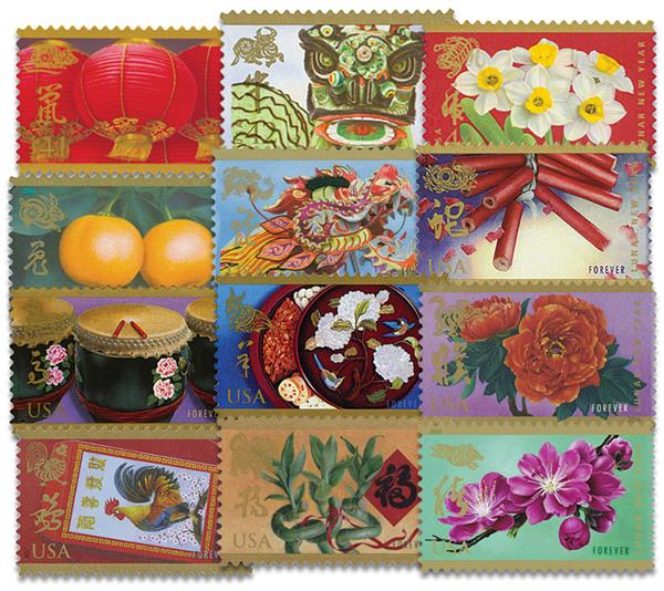 Complete Set - 2008-19 Chinese Lunar New Year Collection, 12 stamps