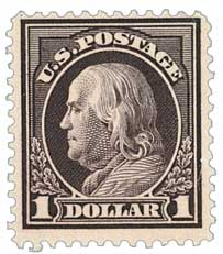 1912 $1 Franklin, violet brown, double line watermark