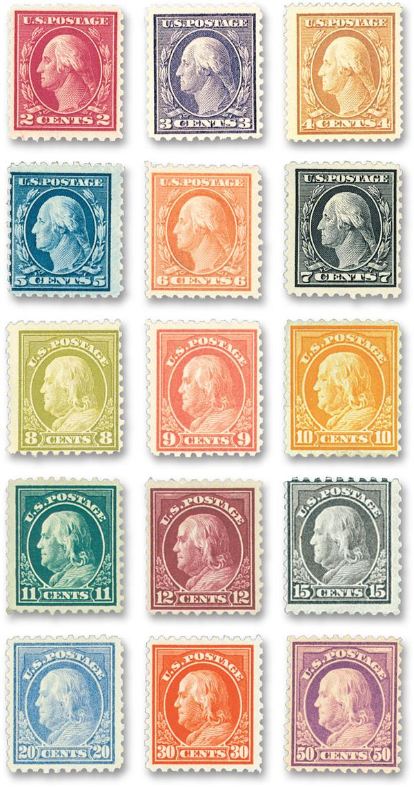 Complete Set, 1914 Washington Franklin Perforated 10 Watermarked