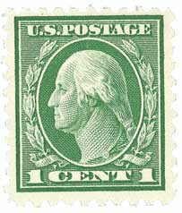 1914 1c Washington Single Line Watermark, green