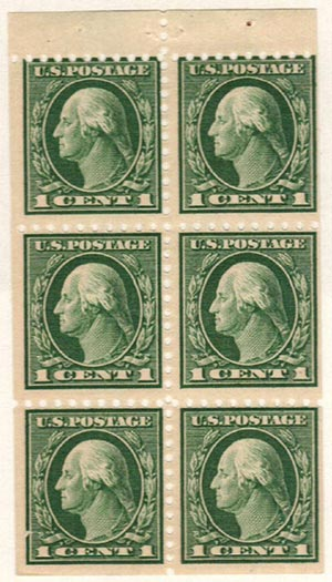 1914-15 1c Booklet Pane of 6