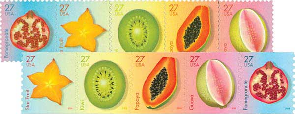 2008 27c Tropical Fruit, set of 10 stamps