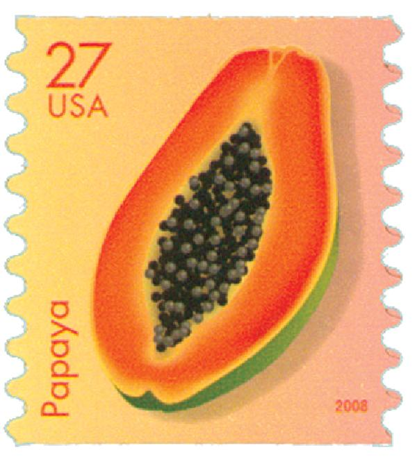 2008 27c Tropical Fruit: Papaya, coil