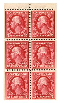 1913 2c rose red, booklet pane of 6