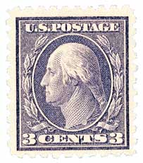 1914 3c Washington, deep violet, single line watermark